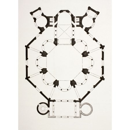 Floor Plan Of The 6Th Century Byzantine San Vitale Church In Ravenna Italy From Les Artes Au Moyen Age Published Paris 1873 Stretched Canvas - Ken Welsh  Design Pics (12 x 17)