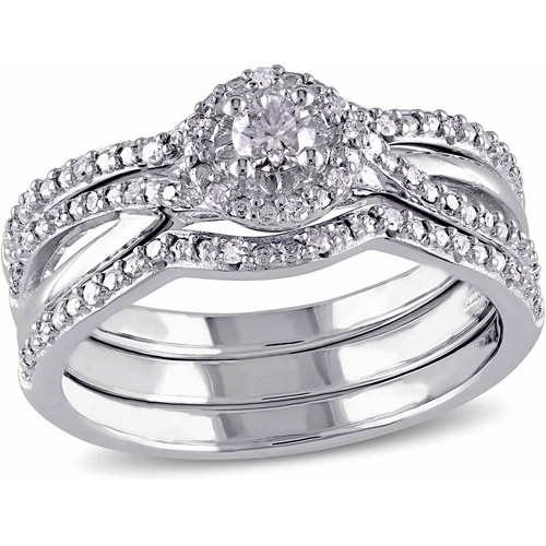 Miabella 1/3 Carat T.W. Diamond Sterling Silver Bridal Ring Set