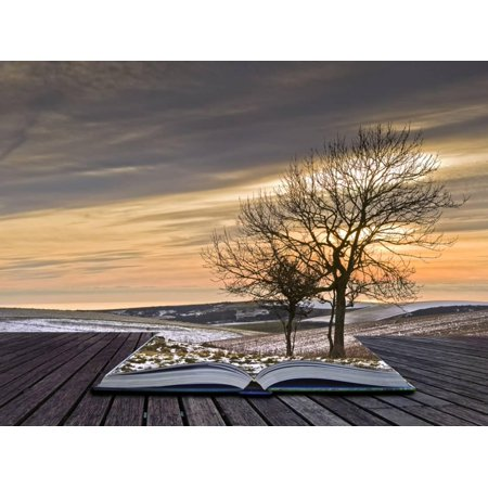 Creative Concept Idea of Winter Landscape Coming out of Pages in Magical Book Print Wall Art By - Creative Halloween Date Ideas