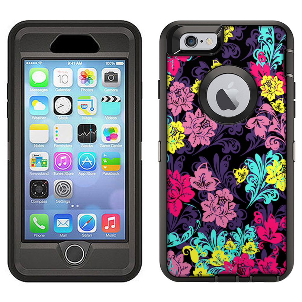 SKIN DECAL FOR Otterbox Defender Apple iPhone 6 Plus Case - Colorful Flowers on Black Damask DECAL, NOT A CASE