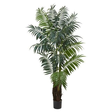 - Nearly Natural 7.5 ft. Bulb Areca Silk Palm Tree