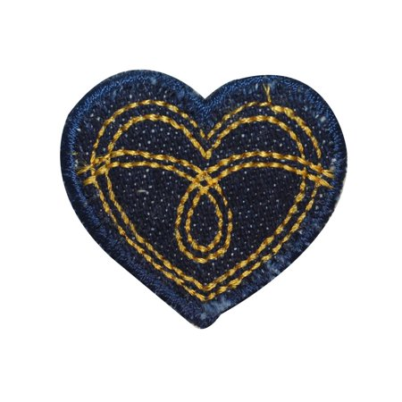 ID 3286D Jean Stitched Heart Patch Valentines Love Embroidered Iron On Applique