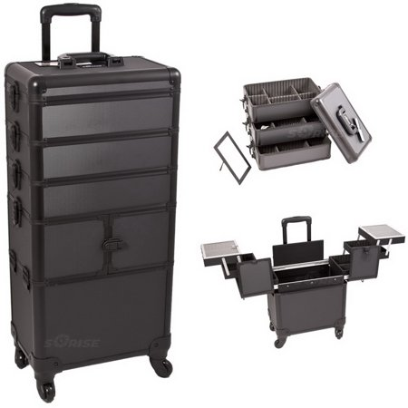 Black Dot Pattern 3-Tiers Accordion Trays Professional Rolling Aluminum Cosmetic Makeup Case and Stackable Trays with Dividers - I3364