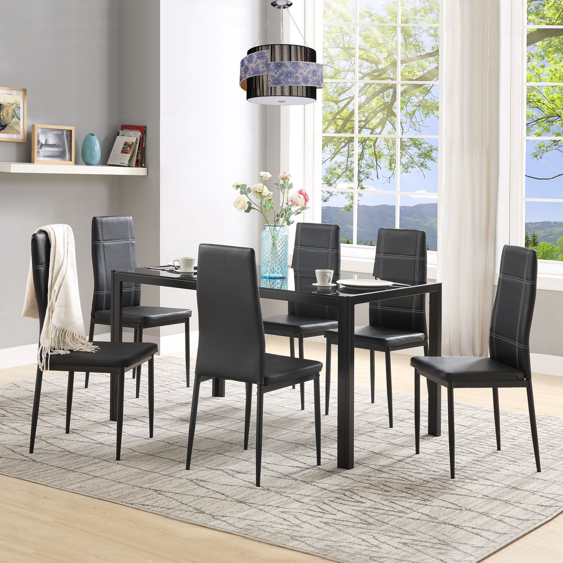 Kitchen Dining Table Set For 6 Modern Glass Dining Room Table Set With 6pcs Leather Bistro Chairs Contemporary Kitchen Breakfast Nook Rectangle Dining Table And Chairs Set For Small Space A180