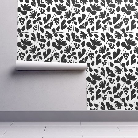 White Wallpaper Cut Out (Wallpaper Roll Floral Flowers Black And White Leaves Jumbo Hand Cut 24in x 27ft)