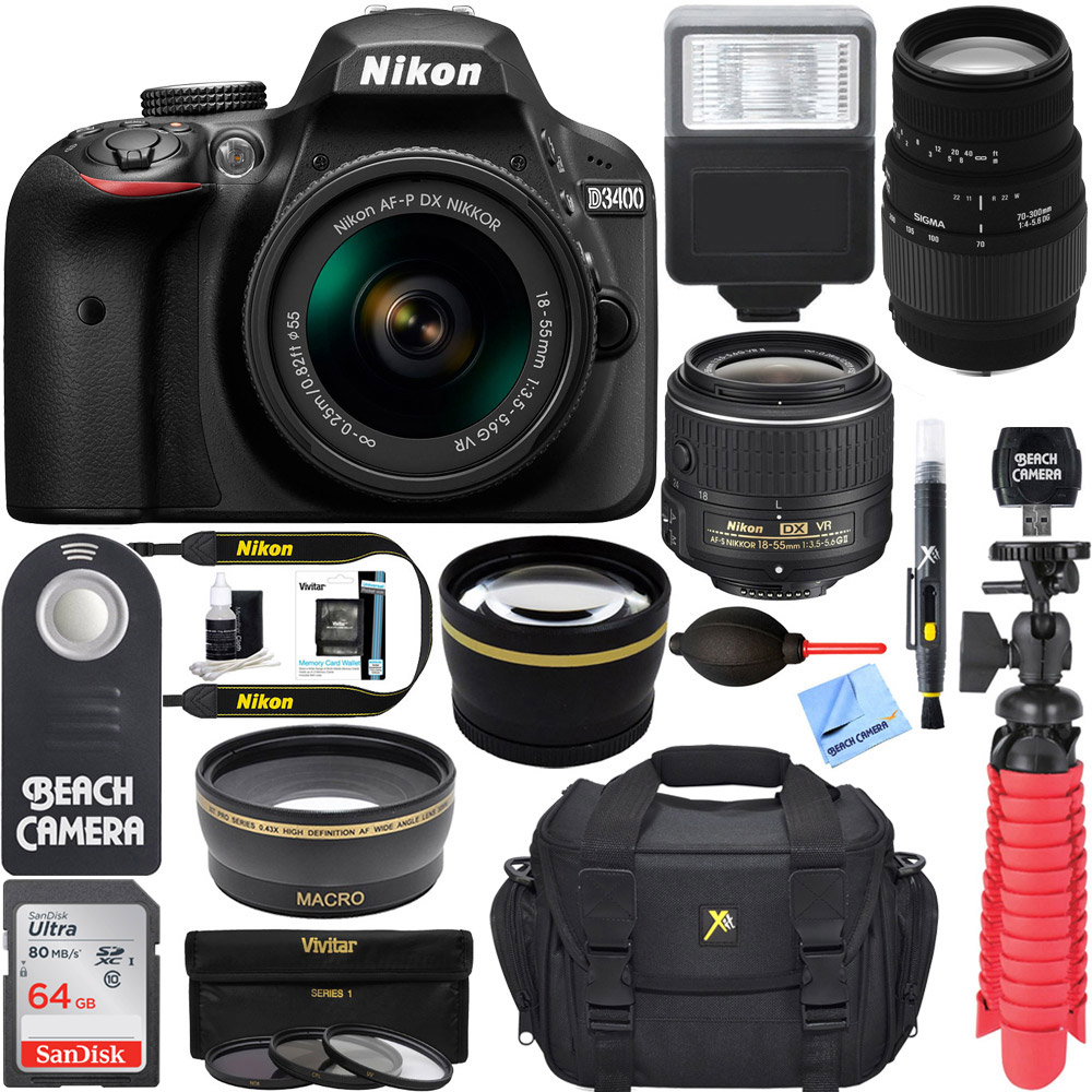 Nikon D3400 24.2 MP DSLR Camera 18-55mm VR Nikon & 70-300mm SLD DG Lens Package, Black Bundle 64GB SDXC Memory Photo Bag Wide Angle Lens 2x Telephoto Flash Remote Tripod Filters SLR Camera