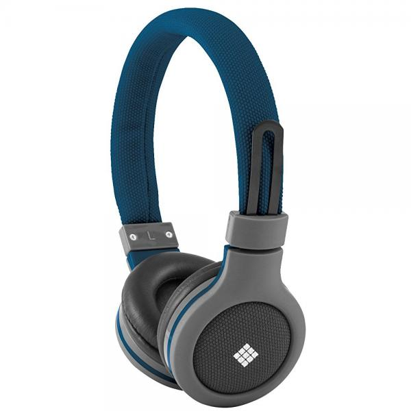 Polaroid PHP120BL Canvas Headphones With Mic, Noise Isolation Blue