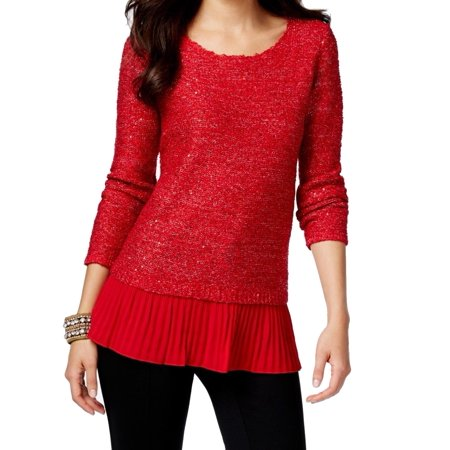 (Alfani NEW Red Women's Size Large L Chiffon-Hem Sequin Scoop Neck Sweater)