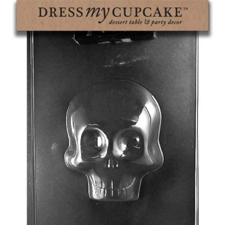 Chocolate Orange Halloween Cupcakes (Dress My Cupcake DMCH166A Chocolate Candy Mold, Large 3D Skull Front,)