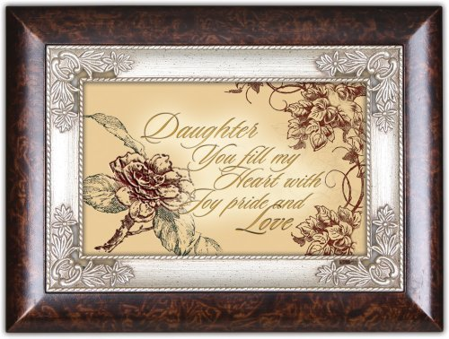 Daughter You Fill My Heart Dark Wood Finish Jewelry Music Box Plays Tune Amazing Grace by