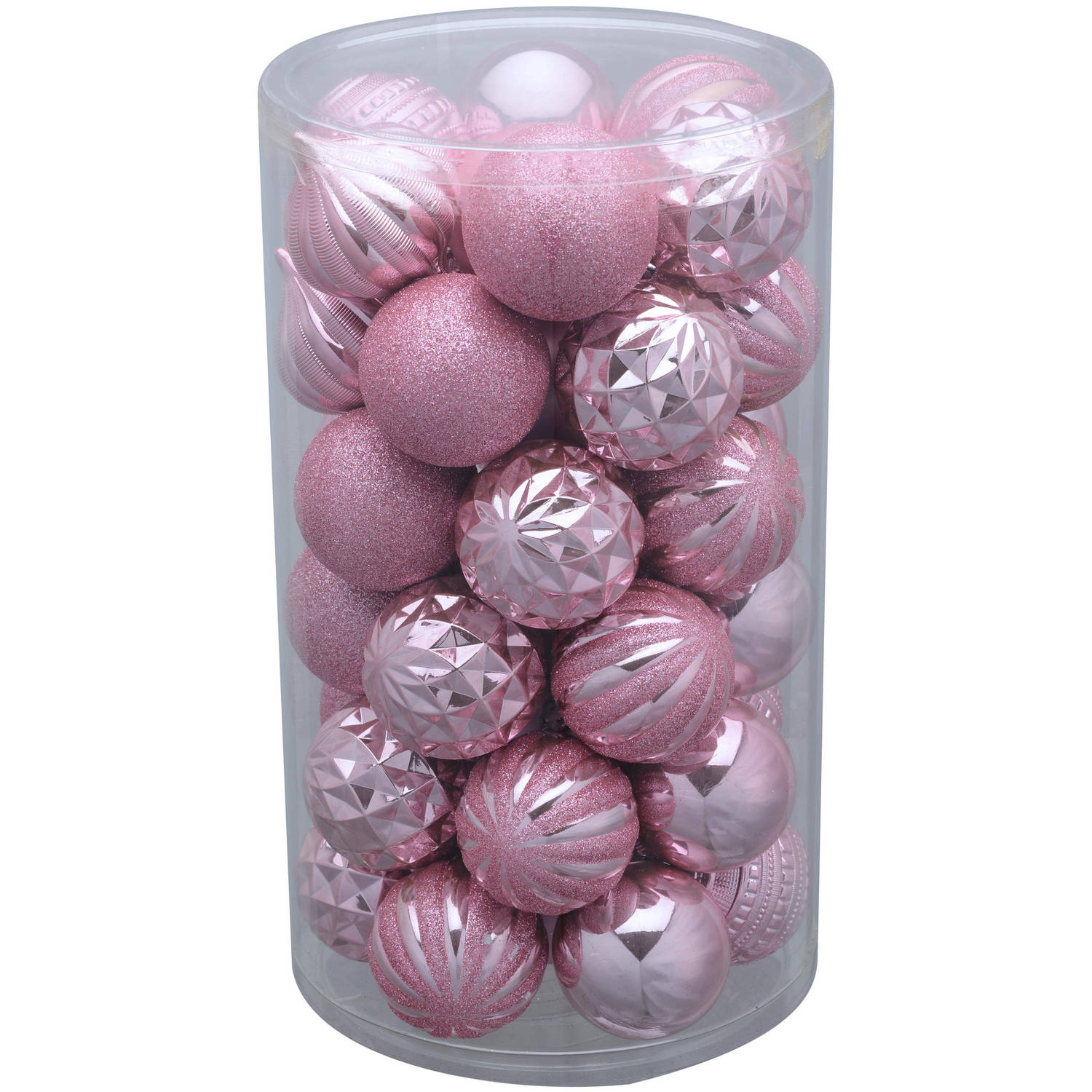 Holiday Time 41-Pack Pink Matte Glitter Ornaments