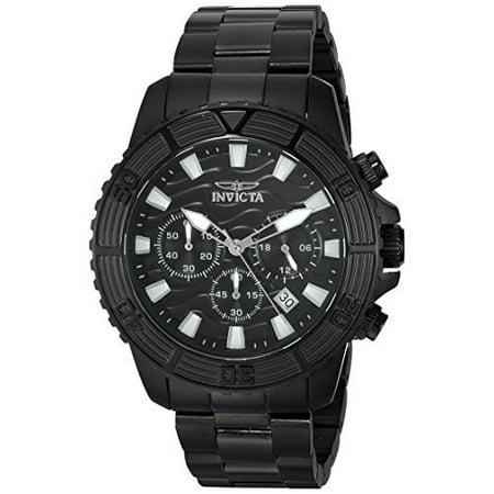 Invicta Men's 24005 Pro Diver Chronograph Black Ip Ss Black Dial Watch Chronograph Ss Case