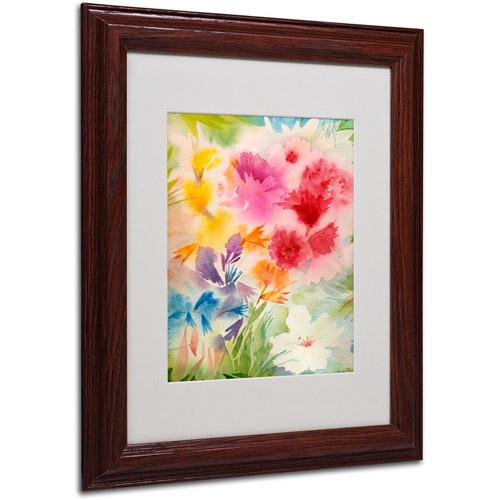 """Trademark Fine Art """"Bright Garden"""" Matted Framed Art by Sheila Golden, Wood Frame"""