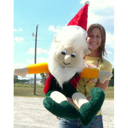 American Made Giant Stuffed Elf 5 Foot Big Christmas Plush White Beard for $<!---->