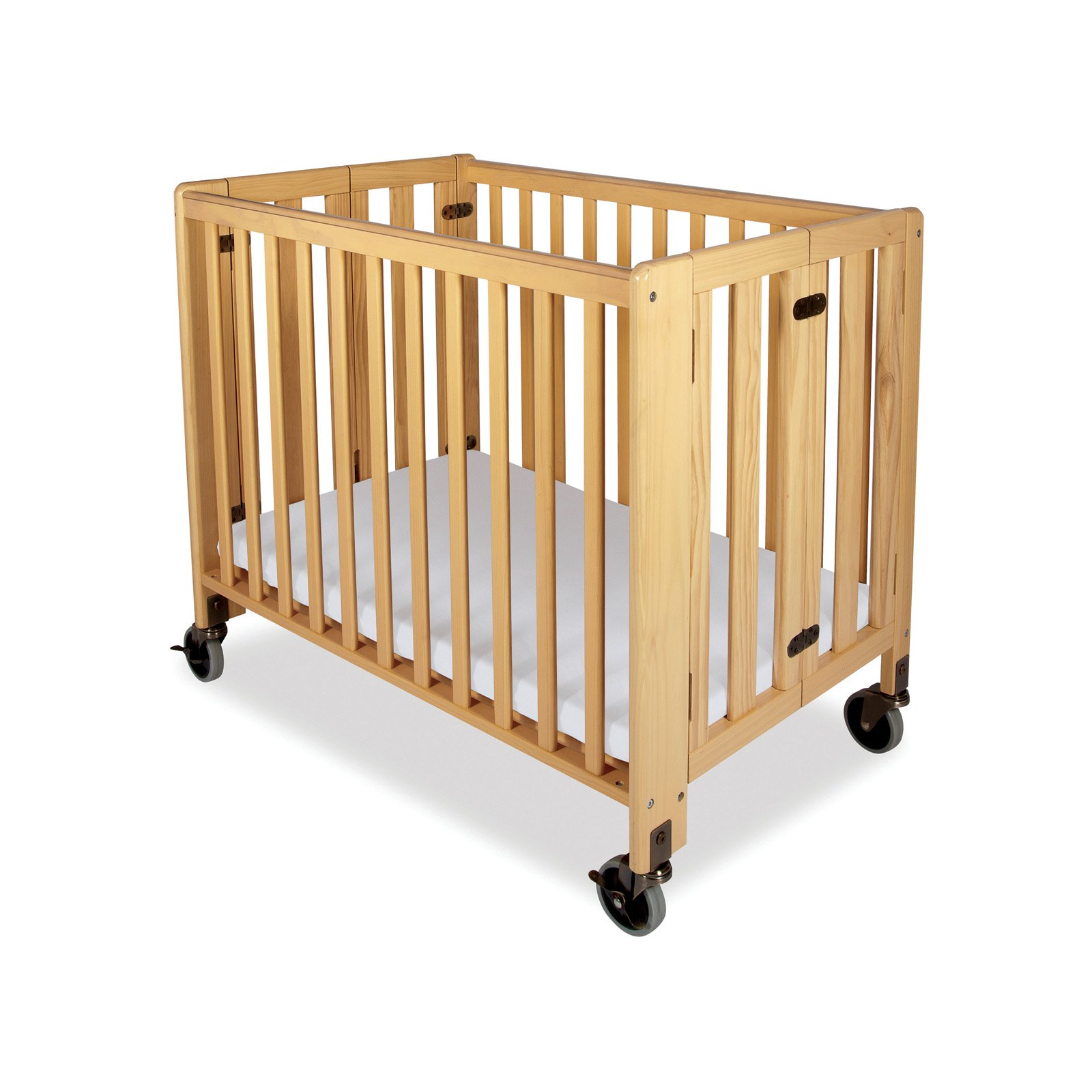 Foundations Hideaway Storable Natural Convertible Crib with Mattress