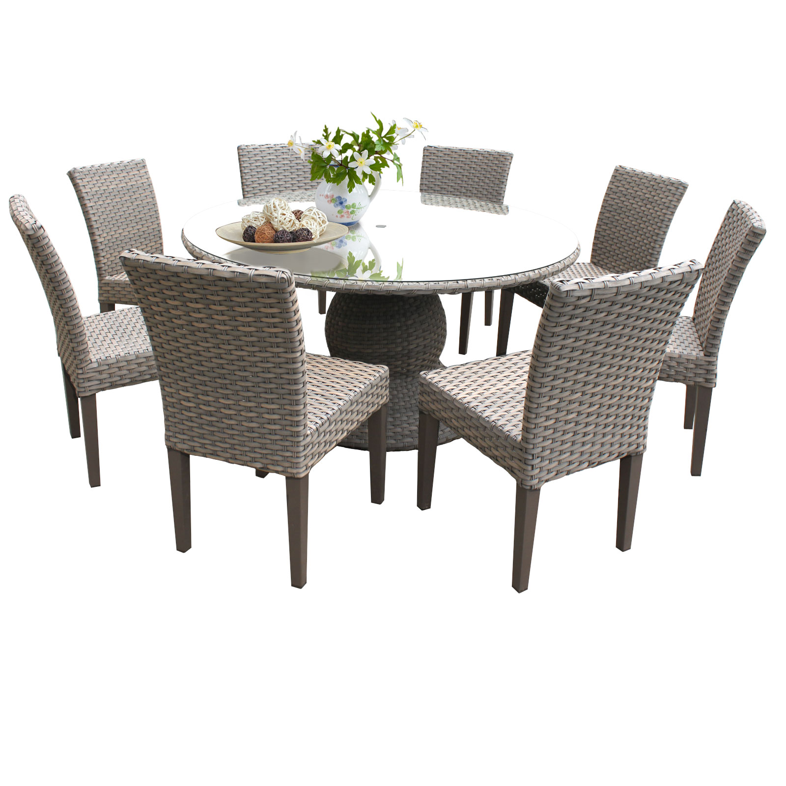 Harmony 60 Inch Outdoor Patio Dining Table With 8 Chairs