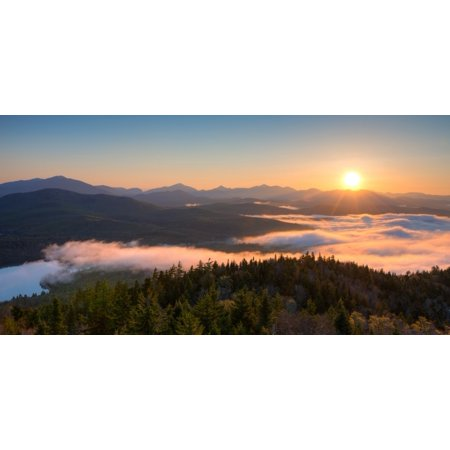 Sunrise over the Adirondack High Peaks from Goodnow Mountain Adirondack Park New York State USA Poster Print Adirondack High Peaks Map