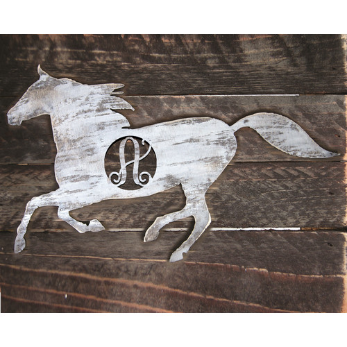 aMonogram Art Unlimited Horse Rustic Single Letter Wooden Shape Wall D cor
