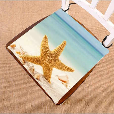 ZKGK Summer Beach with Starfish Sea Shells Seat Pad Seat Cushion Chair Cushion Floor Cushion Two Sides 16x16 Inches ()