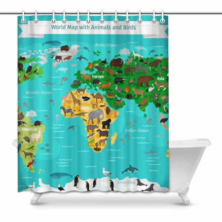 YUSDECOR World Map with Animals and Birds Waterproof Polyester Fabric Shower Curtain Bathroom Sets 60x72 inch - image 1 of 1