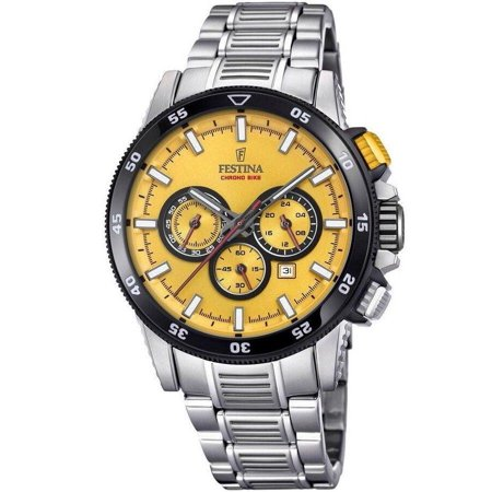 43mm Stainless Bike Dial Chrono Festina Watch F20352a Yellow Steel Men's Yy7vfb6g
