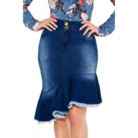 Women Mini Jean Skirt Ruffle Denim Short Skirt