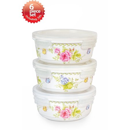 - Ashley 20 Oz. Round 3 Container Ceramic Food Storage Set