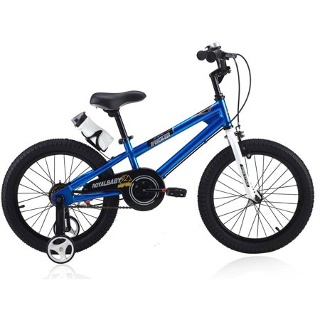 RoyalBaby BMX Freestyle Kids Bike, 18 inch, in 6 colors, Boy's Bikes and Girl's Bikes with training wheels, Gifts for children 18 inch wheels, Blue