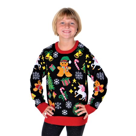 Girls Ugly Sweater (SoCal Look Girls Ugly Christmas Sweater Gingerbread Unicorn)