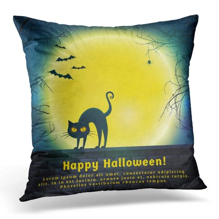ARHOME Happy Halloween with Full Moon and Evil Cat Spooky Night with Copy Space for Greetings Promo Text Pillow Case Pillow Cover 20x20 - Nick Halloween Promo