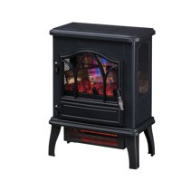 3D Infrared Quartz Electric Fireplace Stove, Black