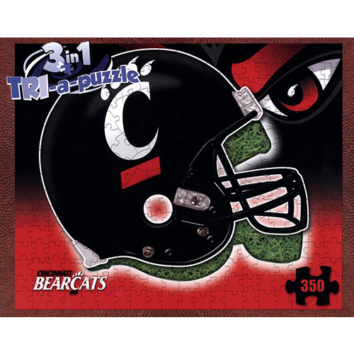 Cincinnati Bearcats Helmet 3-in-1 350 Piece Puzzle,  Cincinnati Bearcats by Late For The Sky Production Co.