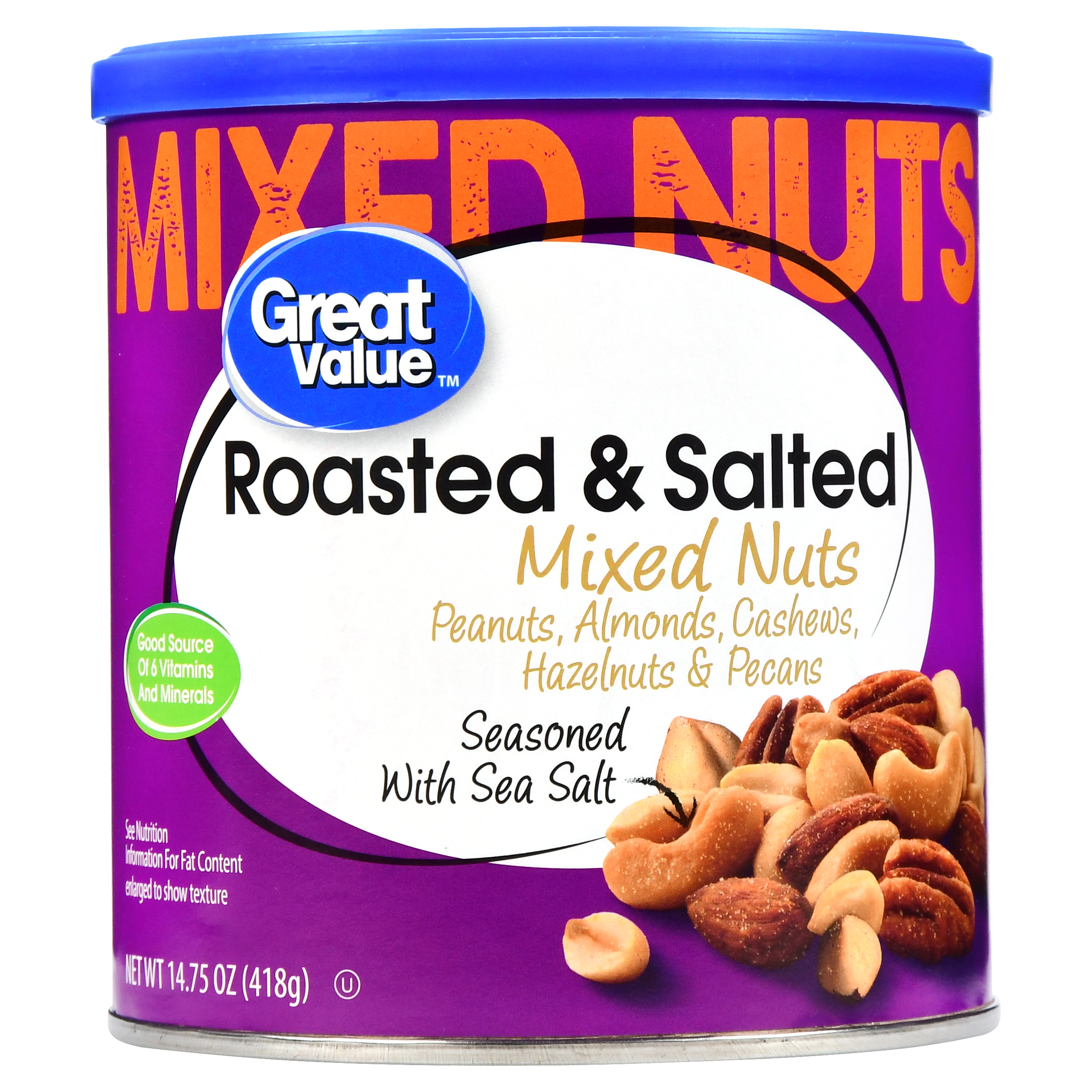 Great Value Roasted & Salted Mixed Nuts, 14.75 oz