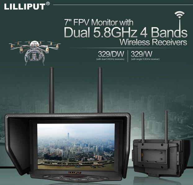 "Lilliput 329/W 7"" 5.8G FPV RC Monitor 800×480 for Drone W..."