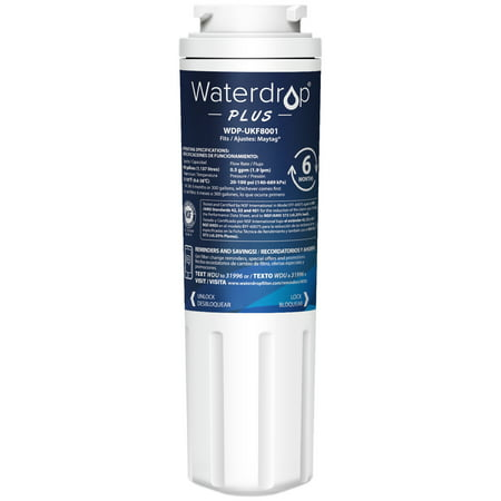 Waterdrop UKF8001 Refrigerator Water Filter, NSF 401&53&42 Certified, Compatible with Maytag UKF8001AXX-750, UKF8001AXX-200, Whirlpool 4396395, 469006, Filter 4, PUR, Puriclean II, EDR4RXD1 ()