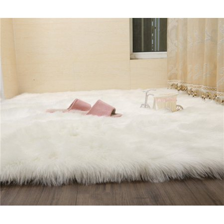 Popeven Faux Fur Sheepskin Rug Fluffy Room Carpets Stylish Home D Cor Accent Bedroom Nursery