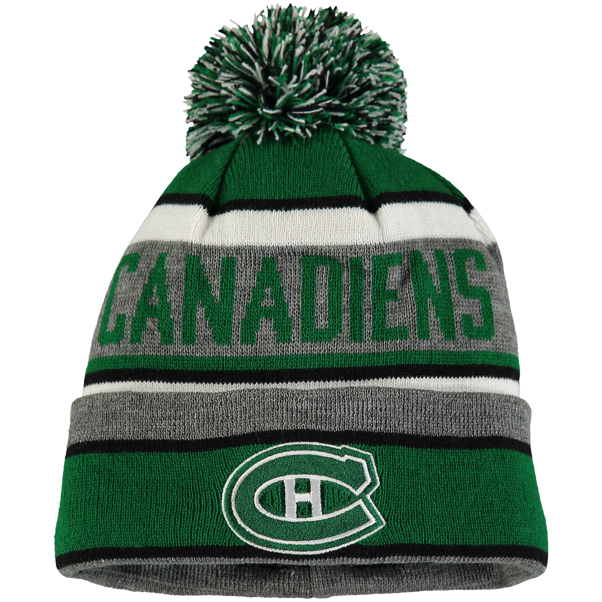 Montreal Canadiens Old Time Hockey St. Patrick's Day Duggan Cuffed Knit Hat with Pom - Green/Charcoal - OSFA
