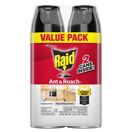 - Raid Ant & Roach Killer, Fragrance Free, 17.5 oz, 2 ct