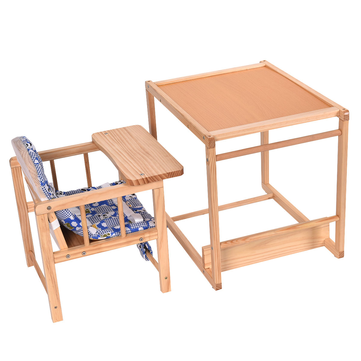 Costway 2 In 1 Solid Wooden Baby High Chair Feeding Infant Toddler Table Kids Child Home Com