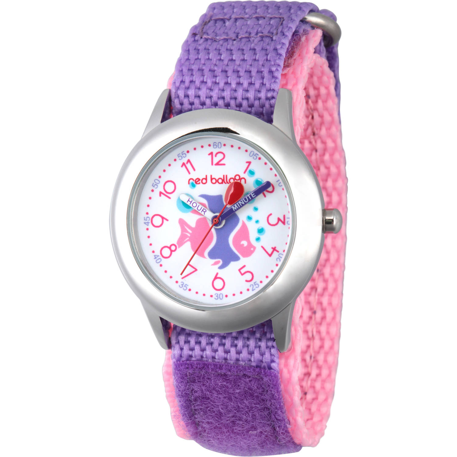 Red Balloon Girls' Stainless Steel Time Teacher Watch, Purple Hook and Loop Nylon Strap with Pink Backing