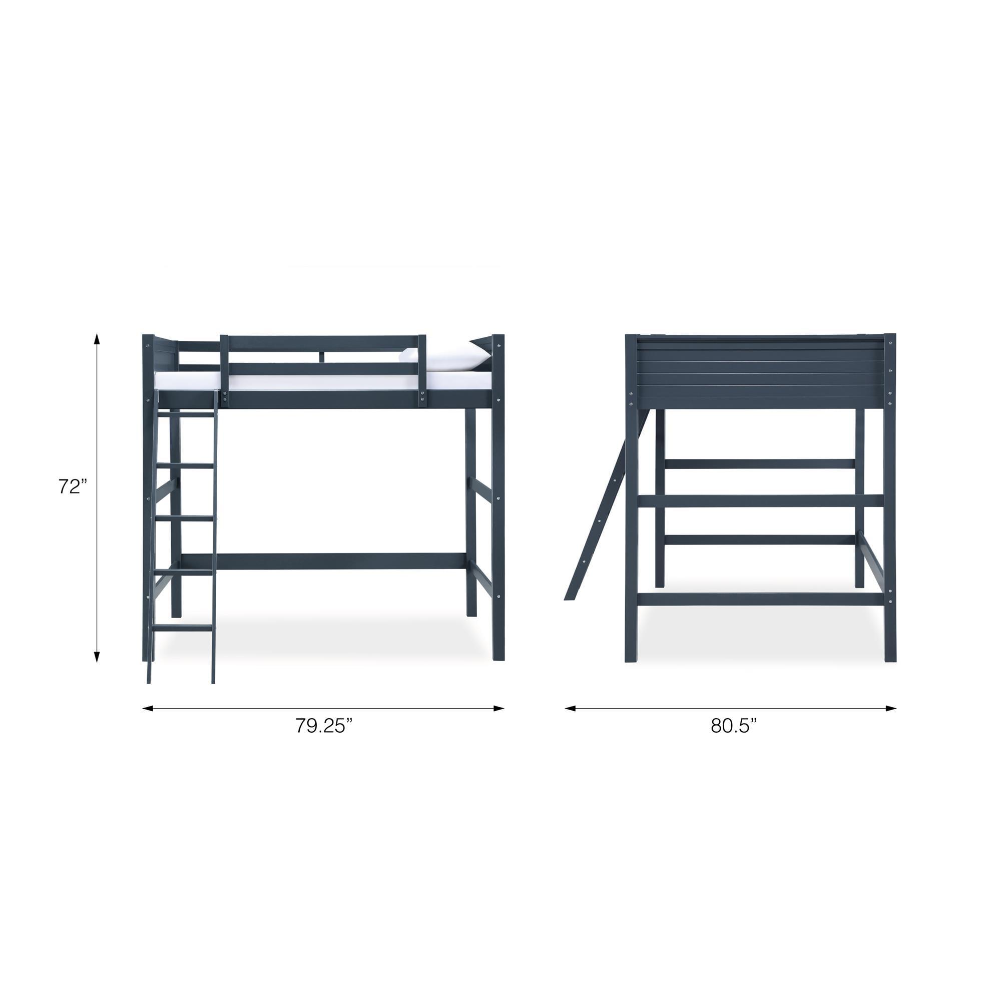 Your Zone Kids Wooden Loft Bed With Ladder Full Espresso Walmart Com Walmart Com