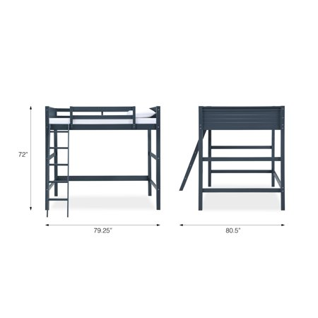 Your Zone Loft Bed for Kids Bedroom Furniture, Full Size Frame, Blue