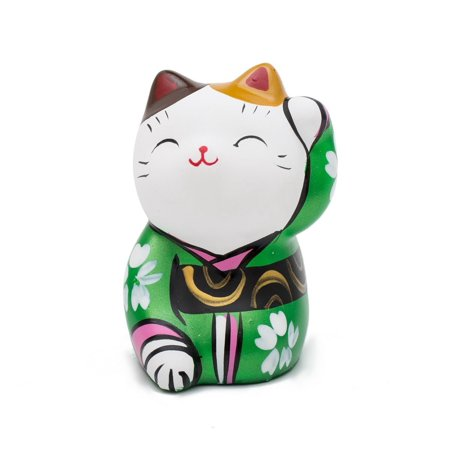 THY COLLECTIBLES Hand Painted Feng Shui Mini Maneki Neko Lucky Cat - Collectible Hand Painted Glass