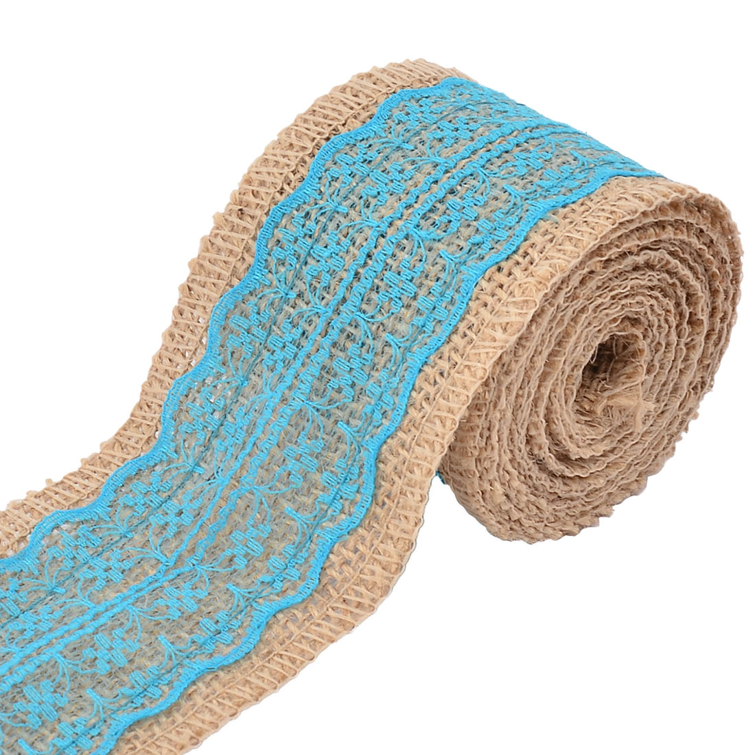 Household Party Lace Edge Ornament Craft Burlap Ribbon Strap Roll Blue 2.2 Yards