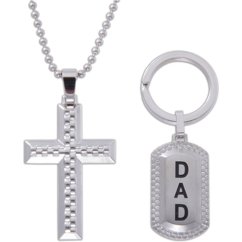 Stainless Steel Cross Pendant and Dad Keychain Set