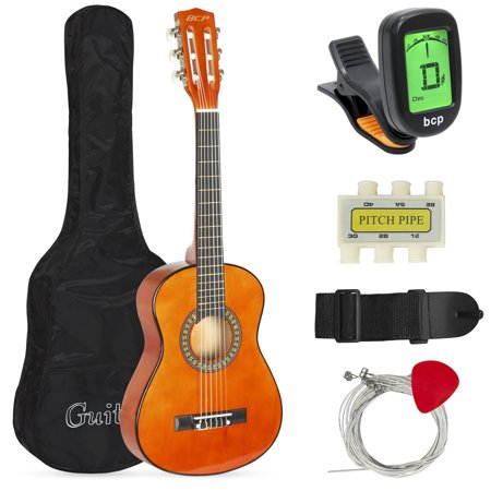 Best Choice Products 30in Kids Classical Acoustic Guitar Complete Beginners Set, Musical Instrument Kit w/ Carry Bag, Picks, E-Tuner, Strap - Brown Acoustic Guitar Tobacco Brown Sunburst