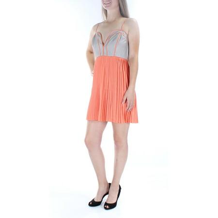 BAR III Womens Orange Spaghetti Strap Sweetheart Neckline Mini Empire Waist Dress  Size: M