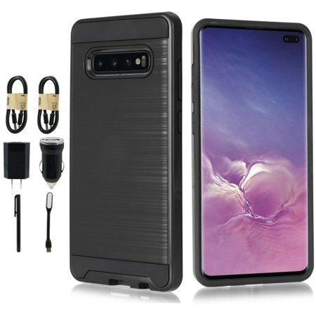 "~Value Pack~ for 6.4"" Samsung Galaxy S10 Plus Brushed Metal Slip Resistant Hybrid Slim Raised Bevel Design Aim At All Buttons Sockets Shockproof Bumper Impact Armor Protective Phone Case + [Black]"