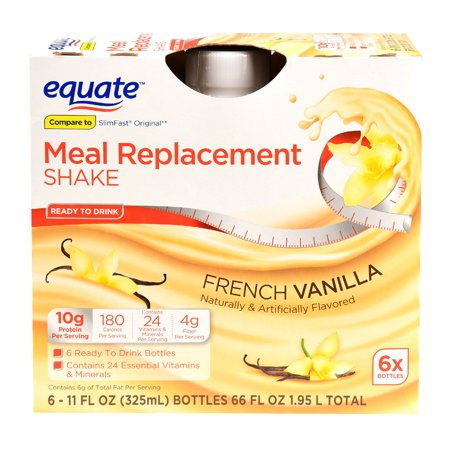 Equate Meal Replacement Shake French Vanilla 66 Oz 6 Ct Walmart Com