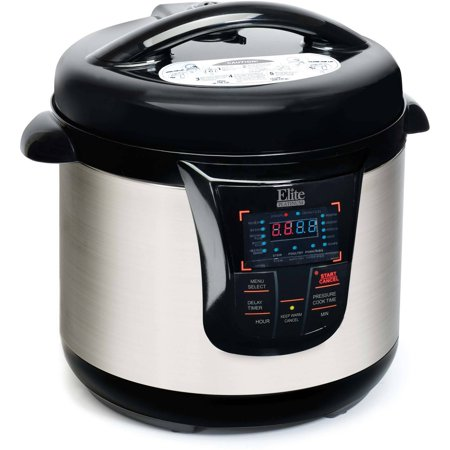Elite Platinum 8Qt. Electric Stainless Steel Pressure Cooker with Programmable Digital Display,